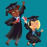 De studentenaffiche met gelukkige gediplomeerden van verschillende nationaliteiten viert middelbare schoolgraduatie Stock Afbeelding