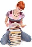 De studentenmeisje van de schoonheid met boek Stock Afbeelding