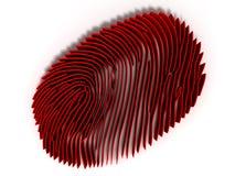 De studievingerafdruk door een 3d vergrootglas, concept criminologie en strafrecht, geeft terug Stock Afbeeldingen