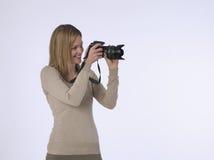 De Studio van fotograafwith camera in stock foto