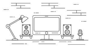 De Studio van de huisopname met Sprekers en Vlakke Microfoon Royalty-vrije Stock Afbeeldingen