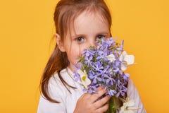 De studio van leuk meisje wordt geschoten die wit overhemds ruikend boeket van bloem, heden voor haar brij, peuter dragen die wil stock fotografie