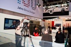 De Studio van TV bij Invest tentoonstelling in Stuttgart Stock Fotografie