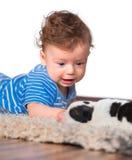 De studioportret van de babyjongen Stock Foto