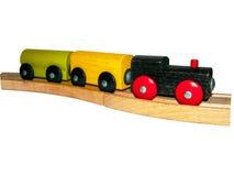 De stuk speelgoed houten motor met auto's Stock Foto