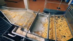 De stukken aardappelsnacks worden door industrieel materiaal worden verwerkt dat stock video