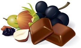 De stukken, de rozijnen en de hazelnotencompositio van de chocolade Royalty-vrije Stock Foto