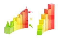 De stukken die van het gokken door de geïsoleerdee grafiek beklimmen Stock Foto's