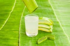De stukken van aloëvera op de achtergrond van banaanblad Organisch schoonheidsmiddelenconcept royalty-vrije stock afbeeldingen