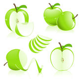 De stukken van de appel Stock Foto's