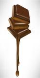 De stukken van de chocolade het smelten vector illustratie