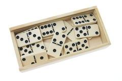 De Stukken van de domino in Doos Royalty-vrije Stock Foto's