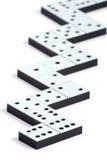 De stukken van de domino in een lijn Stock Fotografie