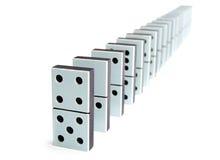 De stukken van de domino in een lijn Royalty-vrije Stock Foto's