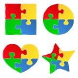 De stukken van de puzzel Stock Fotografie