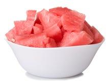 De stukken van de watermeloen in kom Royalty-vrije Stock Afbeeldingen