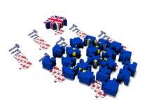 De Stukken van het Brexitraadsel op een witte 3d achtergrond geven terug stock illustratie