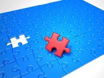 De stukken van het raadsel, het rode oplossingsstuk mist Stock Foto's