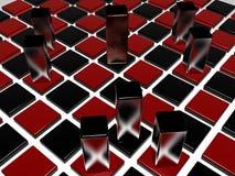 De stukken van het schaakbord en van het metaal Stock Afbeeldingen