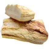 De stukken van ruw vet van varkensvlees zijn geïsoleerd op een witte achtergrond Royalty-vrije Stock Afbeelding