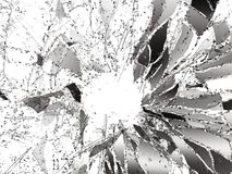 De stukken van splitted of barstten glas op wit Stock Afbeeldingen