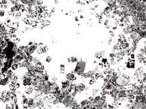 De stukken van splitted of barstten glas op wit Royalty-vrije Stock Afbeelding