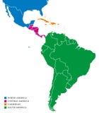 De subregio'skaart van Latijns Amerika vector illustratie