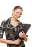 De succesvolle documenten van de bedrijfsvrouwenholding stock foto