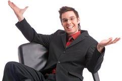 de succesvolle krachtige manager van de overeenkomsten gelukkige persoon Royalty-vrije Stock Afbeelding