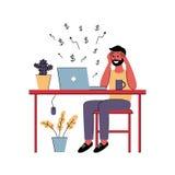 De succesvolle mens freelancer werkt thuis Vector illustratie royalty-vrije illustratie