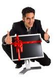 De succesvolle zakenman koopt monitor Stock Afbeelding