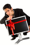 De succesvolle zakenman koopt monitor Royalty-vrije Stock Foto