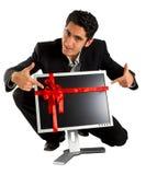 De succesvolle zakenman koopt monitor. Stock Fotografie