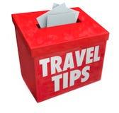 De Suggestievakje van reisuiteinden de Raadsinformatie van Terugkoppelingsoverzichten Stock Foto