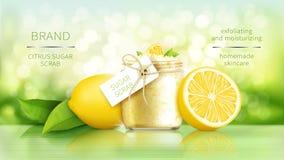 De suiker schrobt met citroen stock afbeeldingen