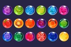 De suikergoedkasseisteen, glanzende snoepjes van verschillende kleuren en smaken vectorillustraties voor apps, Web en spel usetr  Royalty-vrije Stock Afbeeldingen