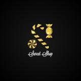 De Suikergoedwinkel Zoete Bar Gouden Achtergrond Stock Fotografie