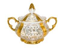 De suikerkom van het porselein van een oude antieke thee-reeks Stock Afbeeldingen