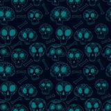 De suikerschedels van krabbelcalavera in blauw, van Halloween of dia DE muertos naadloos patroon, vector Royalty-vrije Stock Foto