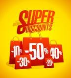 De super banner van de kortingen vectorverkoop met vele rode het winkelen zakken stock illustratie