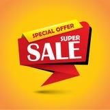 De super banner van de verkoopbel in trillende kleuren Stock Foto