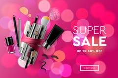 De super banner van Verkoopschoonheidsmiddelen voor het winkelen seizoen, make-up, toebehoren, materiaal, schoonheid, gezichts, m royalty-vrije illustratie
