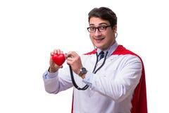 De super die held arts op wit wordt geïsoleerd Royalty-vrije Stock Foto