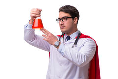 De super die held arts op wit wordt geïsoleerd Stock Afbeeldingen
