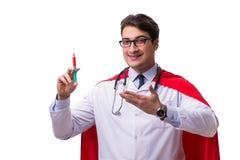 De super die held arts op wit wordt geïsoleerd Royalty-vrije Stock Fotografie