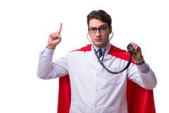 De super die held arts op wit wordt geïsoleerd Royalty-vrije Stock Foto's