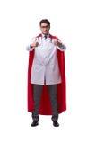 De super die held arts op wit wordt geïsoleerd Stock Fotografie