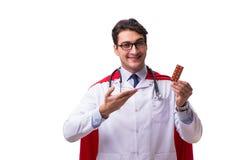 De super die held arts op wit wordt geïsoleerd Stock Afbeelding