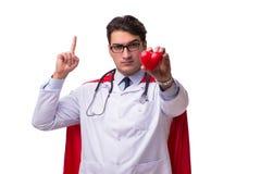 De super die held arts op wit wordt geïsoleerd Stock Foto