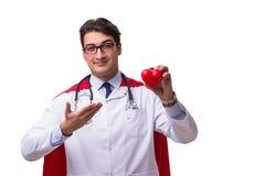 De super die held arts op wit wordt geïsoleerd Stock Foto's